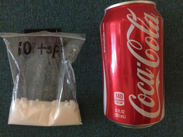 lattina di coca cola, zucchero equivalente