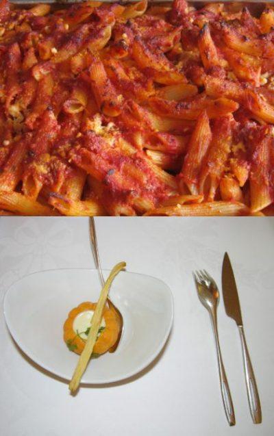 pasta al forno vs. piatto nouvelle cuisine