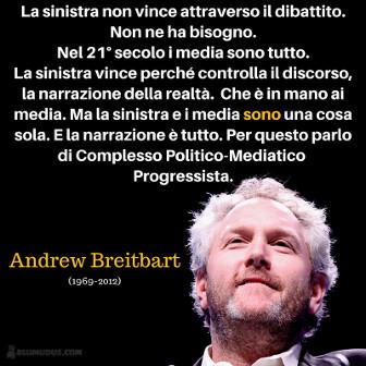 La sinistra non vince attraverso il dibattito. Non ne ha bisogno. Nel 21° secolo i media sono tutto. La sinistra vince perché controlla il discorso, la narrazione della realtà. Che è in mano ai media. Ma la sinistra e i media sono una cosa sola. E la narrazione è tutto. Per questo parlo di Complesso Politico-Mediatico Progressista. Andrew Breitbart. -Photo credit: Gage Skidmore.