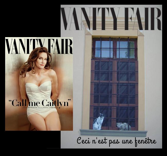 Caitlyn Jenner sulla copertina di Vanity Fair, contrapposta ad una finestra a trompe-l-oeil con una parte in vetro