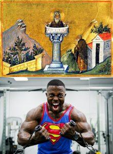 Daniele stilita in una icona del sec. XI contrapposto ad un muscoloso bodybuilder