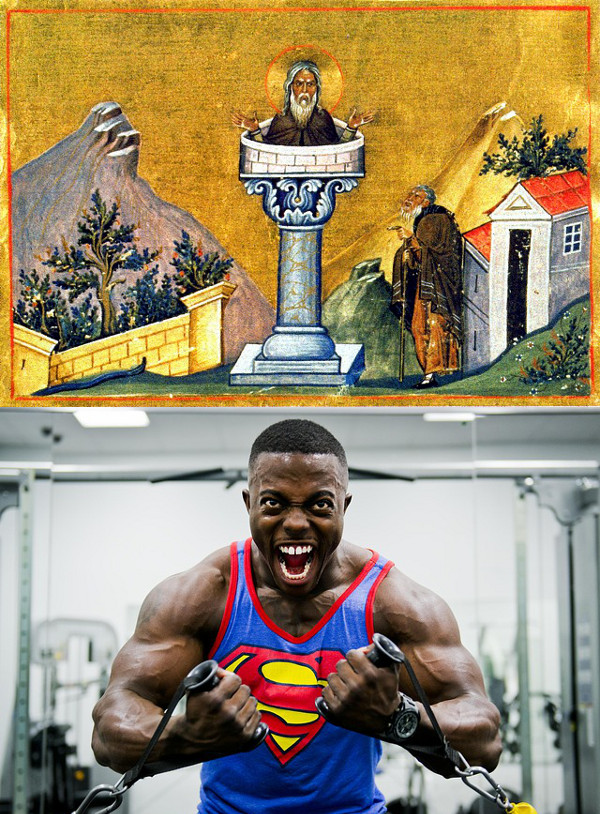 St.Daniel the stylite in a XI century icon, compared to a brawny bodybuilder