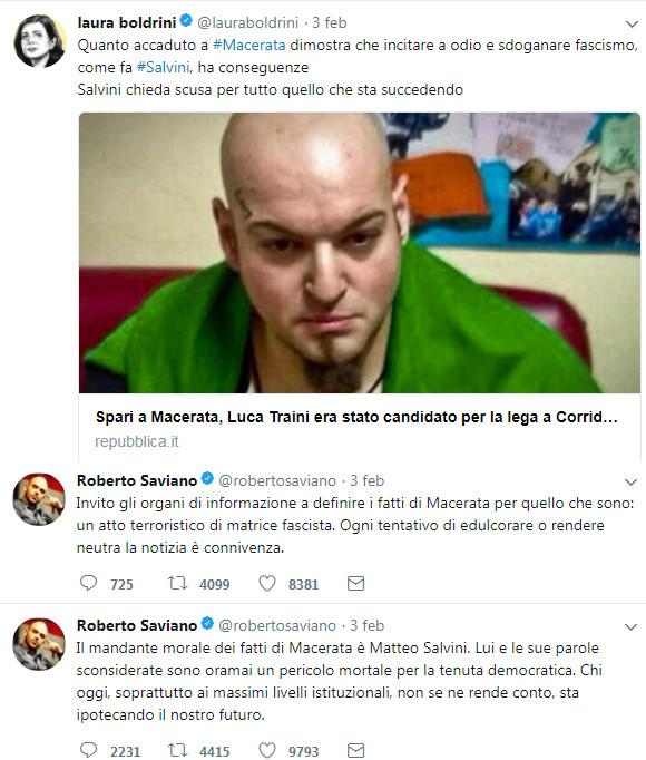 Laura Boldrini e Roberto Saviano su Twitter fanno gli sciacalli sulla vicenda del pazzo razzista