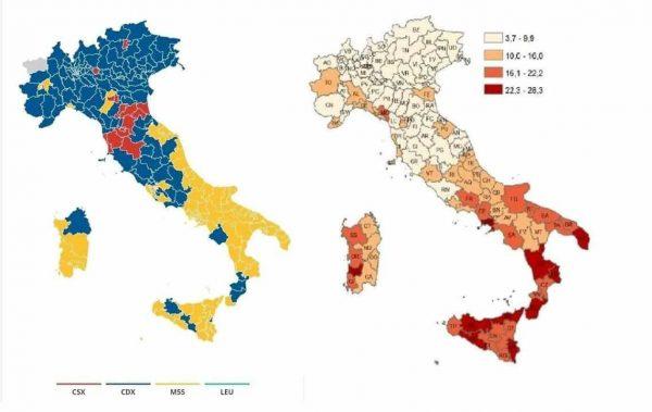 Elezioni 2018. Confronto tra la distribuzione dei voti sul territorio e il tasso di disoccupazione.