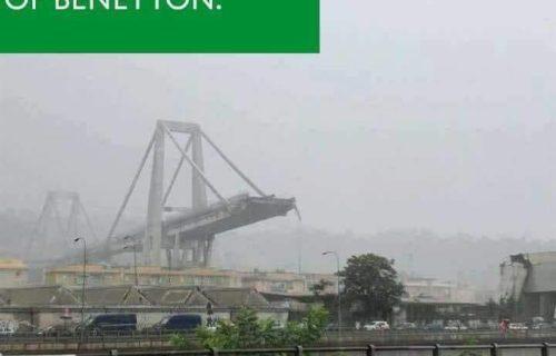 meme che collega il crollo del ponte Morandi alle campagne pubblicitarie shock della Benetton