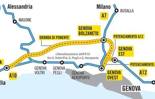 tracciato previsto della nuova gronda autostradale di Genova