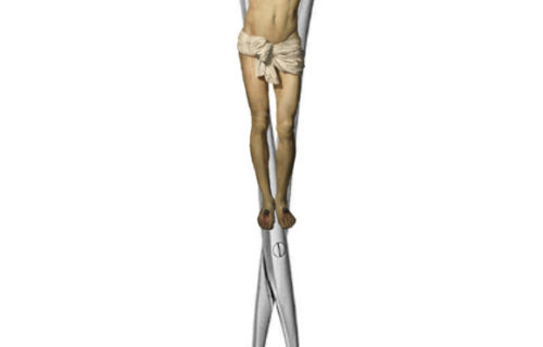 Jesus Christ crucified on an abortion instrument